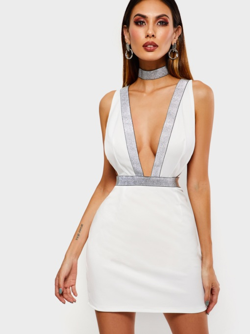 Sequins V-Neck Sleeveless Sexy Women's Open Back Dress