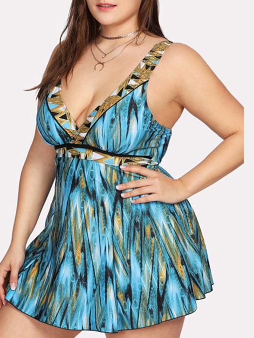 Sexy One Piece Print Color Block Women's Swimwear