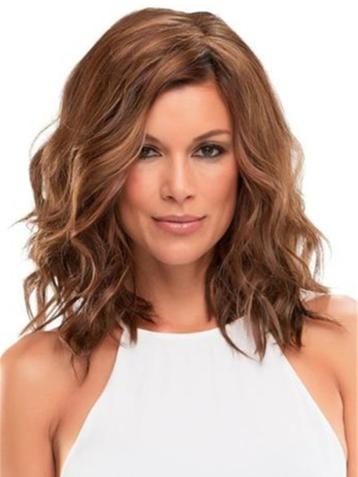 Big Curly Layered Hairstyle with Full Fringe Middle Length Synthetic Capless Women Wigs 14 Inches