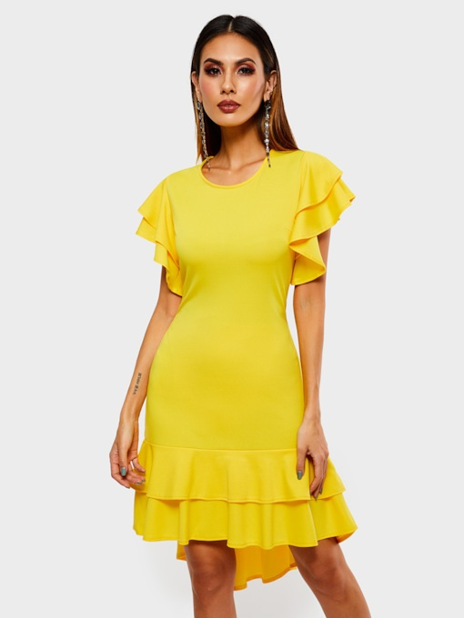 Falbala Short Sleeve Asymmetric Women's Day Dress