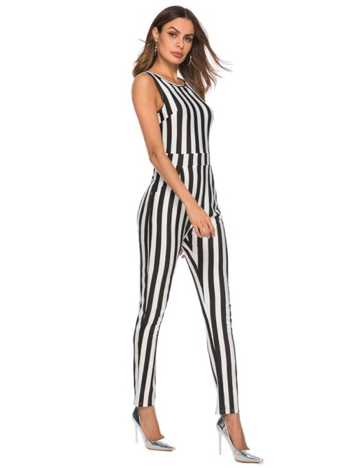 Stripe Full Length Print High-Waist Women's Jumpsuits