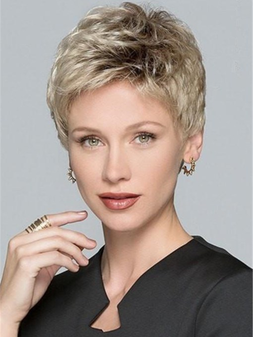 Natural Short Layered Human Hair Blend Lace Front Wigs For Women 8 Inches