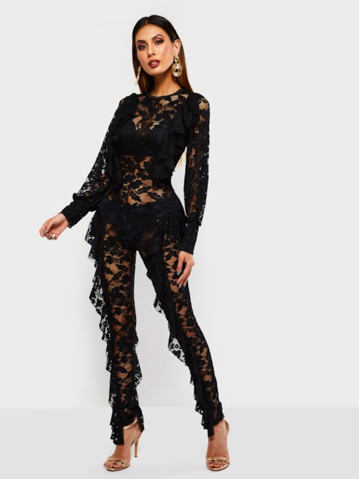 Hollow Lace Ruffled Slim Women's Jumpsuits