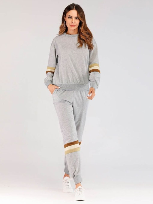 Color Block Patchwork Pullover Women's Two Piece Sets