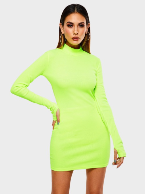Long Sleeve Plain Stand Collar Women's Bodycon Dress