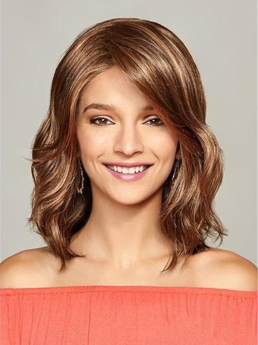 Fashion Medium Big Curly Layered Synthetic Hair Capless Wig 14 Inches