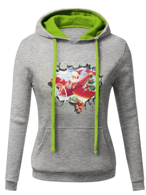 Slim Cartoon Print Drawstring Women's Hoodie