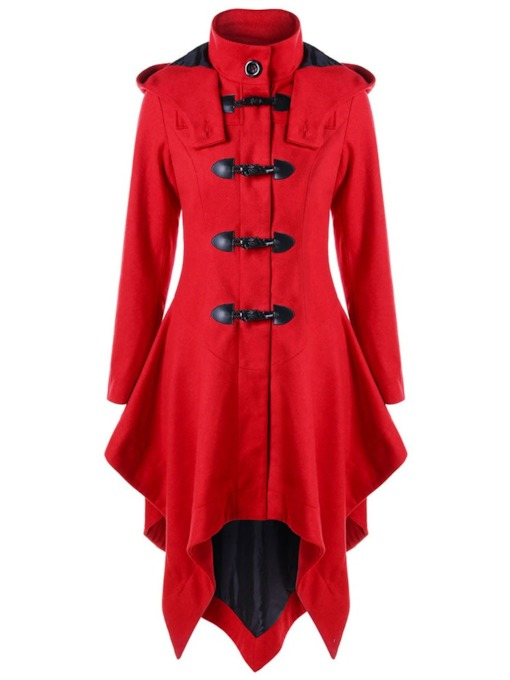 Horn Button Hemline/Peplum Women's Trench Coat