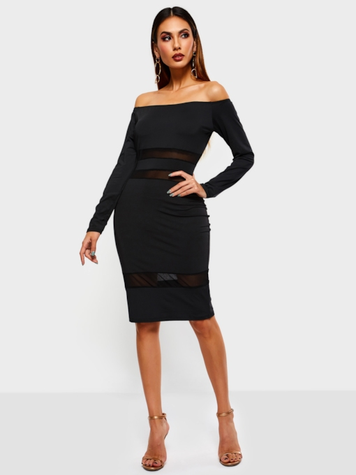 See-Through Long Sleeve Patchwork Women's Bodycon Dress
