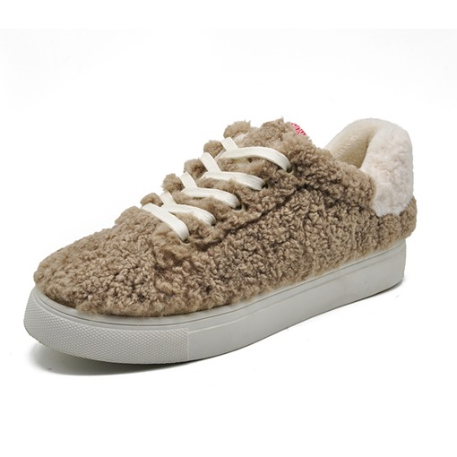 Low-Cut Upper Round Toe Platform Lace-Up Women's Teddy Sneakers