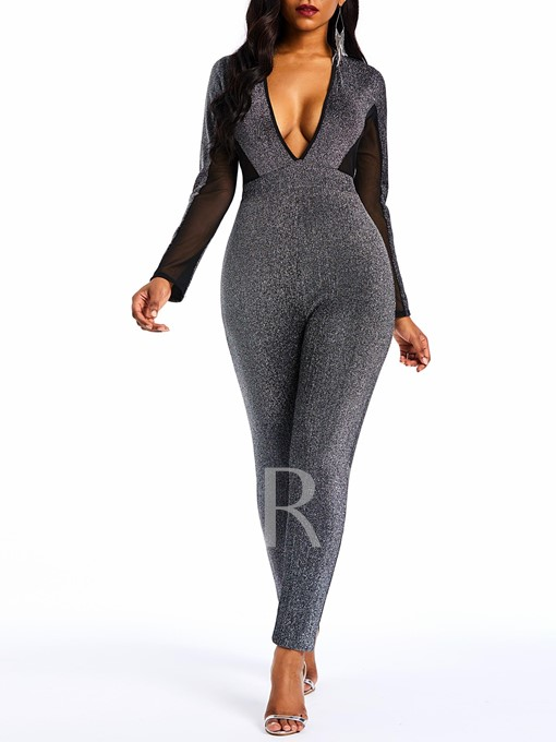Lurex Fashion Ankle Length Skinny Women's Jumpsuits