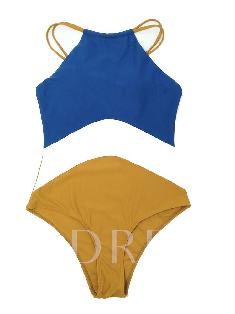 Sexy Patchwork One Piece Color Block Women's Swimwear