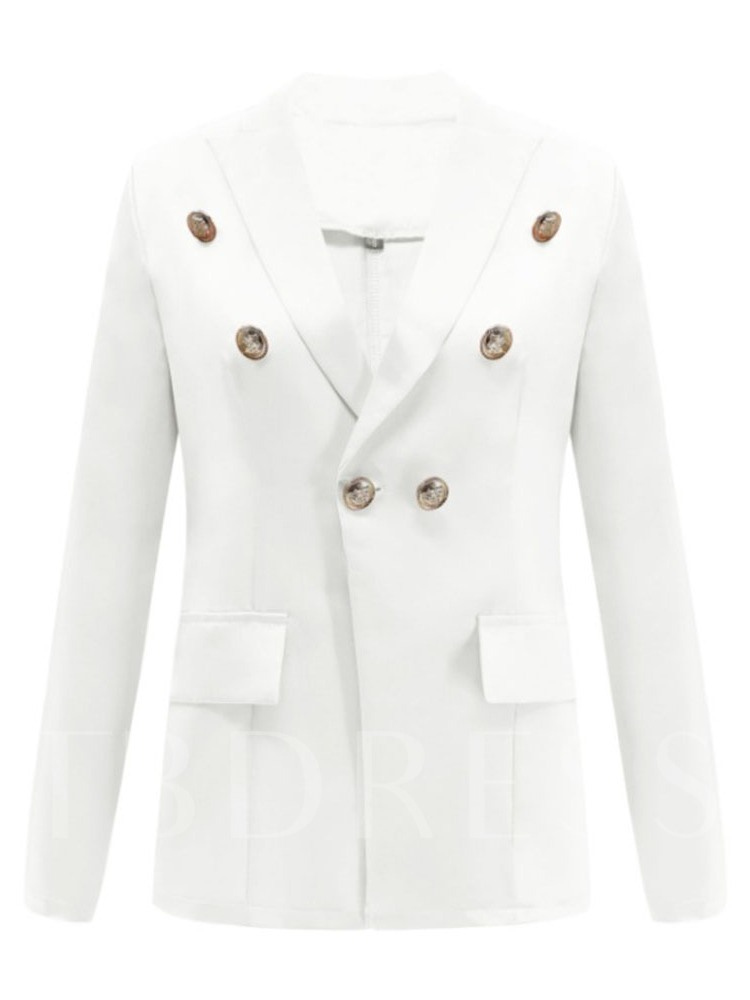 Notched Lapel Double-Breasted Plain Women's Blazer