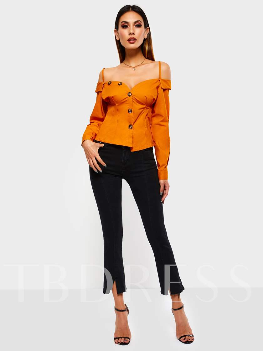 Slim Single-Breasted Backless Women's Blouse