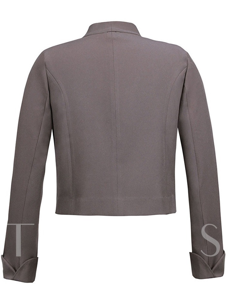 Slim Stand Collar Long Sleeve Cropped Women's Jacket
