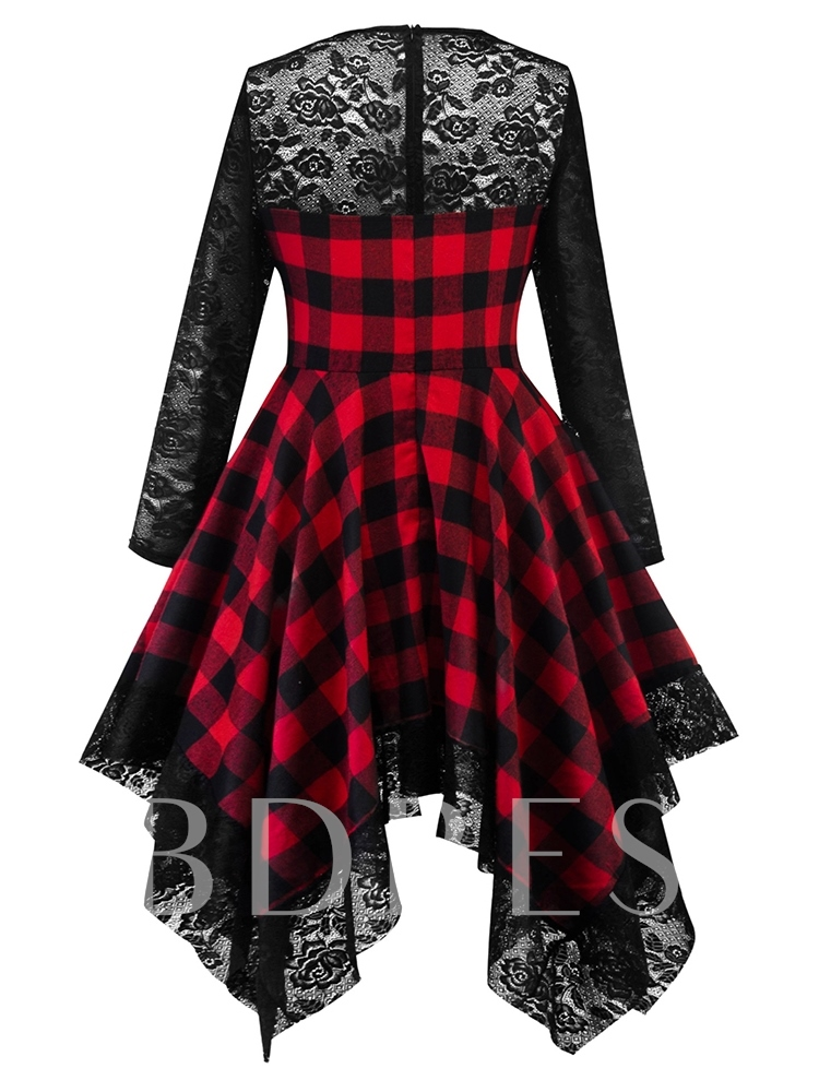 Asymmetric Plaid Vintage Women's Lace Dress