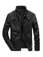 Straight Plain Stand Collar Men's Leather Jacket