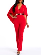 Full Length Plain High-Waist Women's Jumpsuit