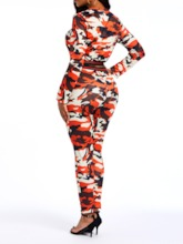 Camouflage Pants Print Fashion Round Neck Women's Two Piece Sets