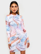 Print Stand Collar Long Sleeve Color Block Women's Bodycon Dress
