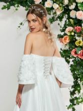 Flowers Beading Off-The-Shoulder Wedding Dress 2019