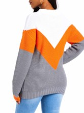 Color Block Patchwork Loose Pullover Women's Sweater