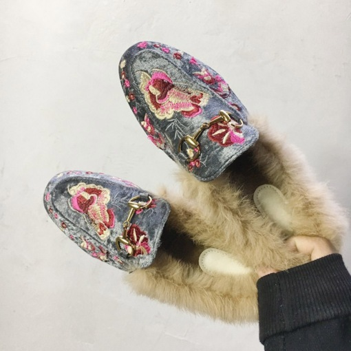 Embroidery Closed Toe Block Heel Slip-On Floral Women's Flats