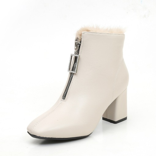 Square Toe Front Zipper Plain Chunky Heel Casual Ankle Boots