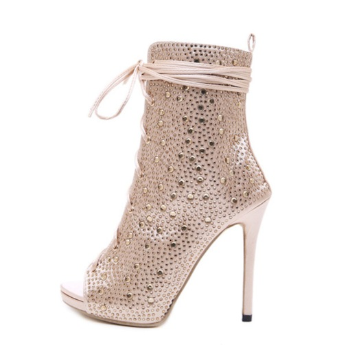 Peep Toe Stiletto Heel Lace-Up Front Plain Women's Ankle Boots