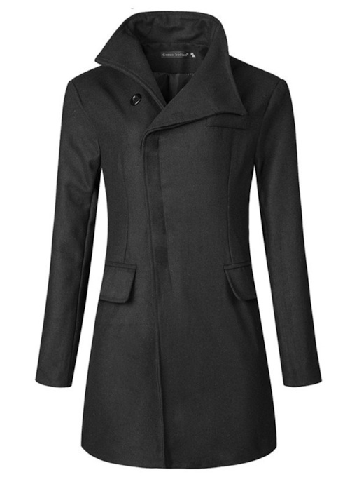 Slim Mid-Length Plain Men's Wool-Blend Topcoat
