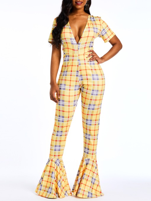 Plaid Full Length Patchwork Casual Slim Women's Jumpsuits