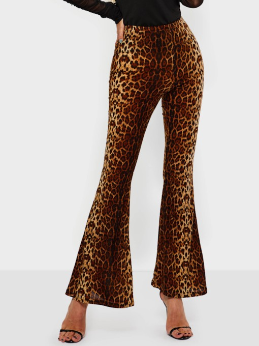 Leopard Bellbottoms Slim Women's Casual Pants