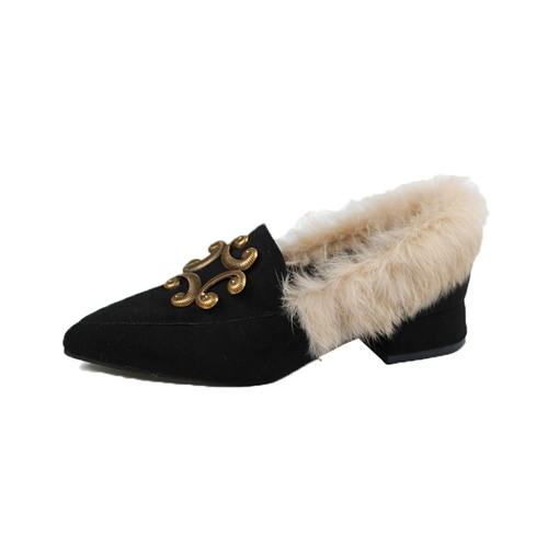 Slip-On Pointed Toe Purfle Chunky Heel Chic Women's Flats