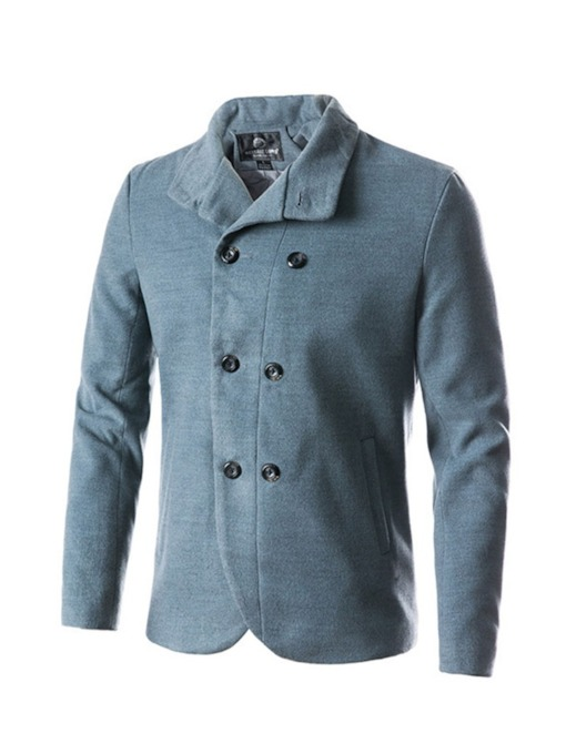 Plain Lapel Slim Standard Men's Wool-Blend Peacoat