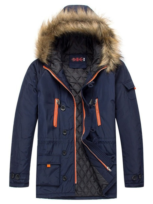 Full-Zipper Multi-pockets Mid-Length Hooded Men's Parka jacket