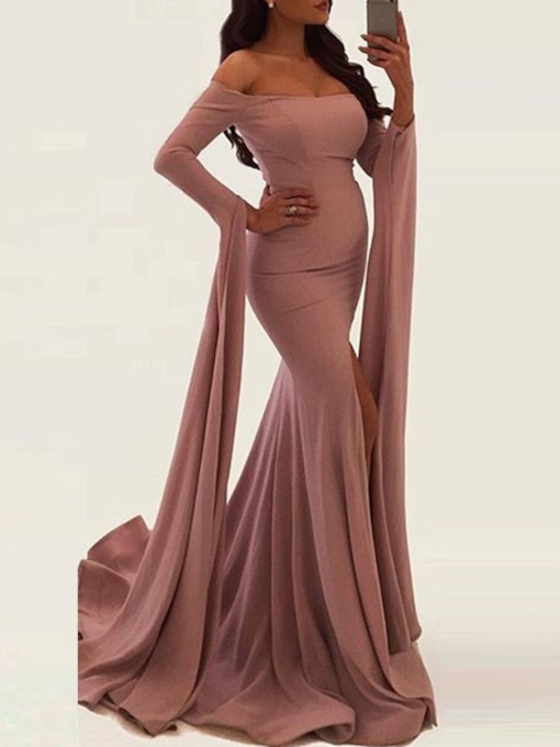 Long Sleeve Pleated Off Shoulder Expansion Women's Maxi Dress