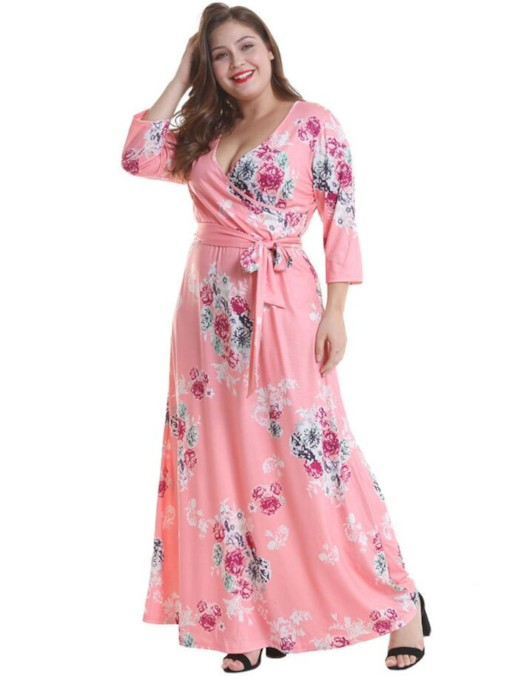 Plus Size Print V-Neck Floral Women's Maxi Dress