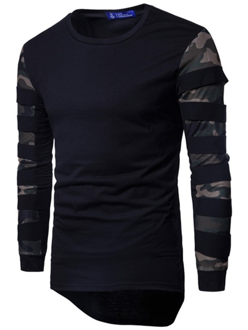 Patchwork Camouflage Mid-Length Men's T-shirt