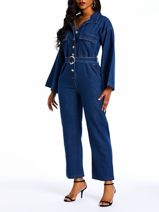 Denim Belt High-Waist Women's Jumpsuits