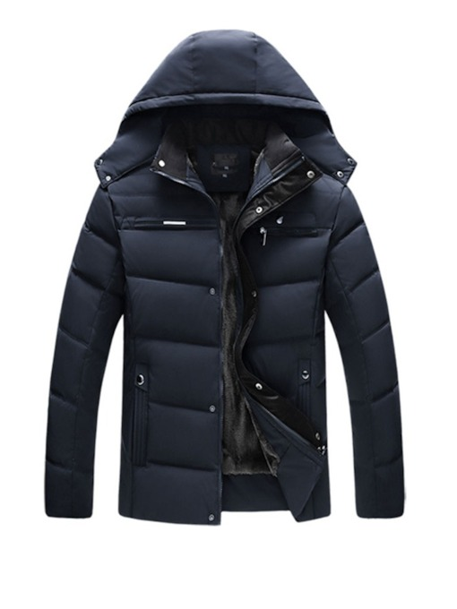 Hooded Plain Mid-Length Men's Puffer Jacket