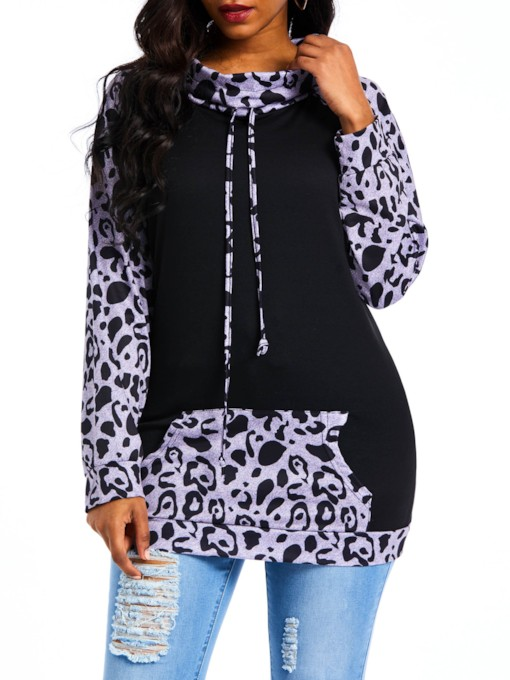Color Block Leopard Print Women's Hoodie