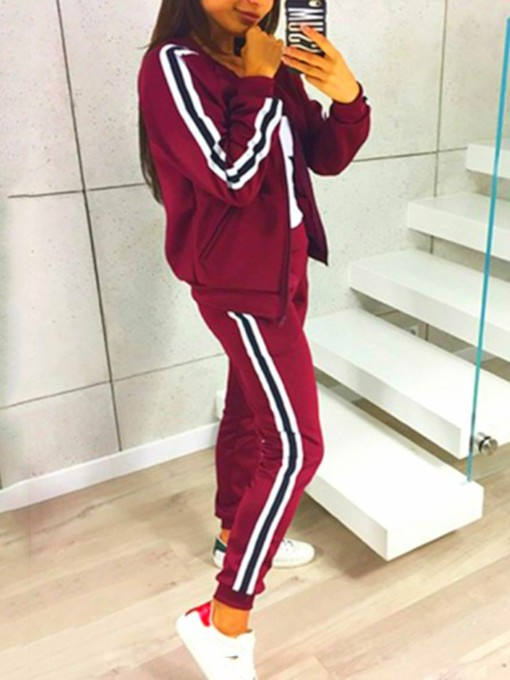 Sports Patchwork Pants Pencil Pants Women's Two Piece Sets