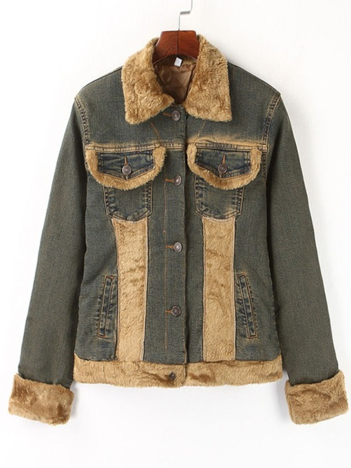 Faux Fur Collar Single-Breasted Women's Denim Jacket