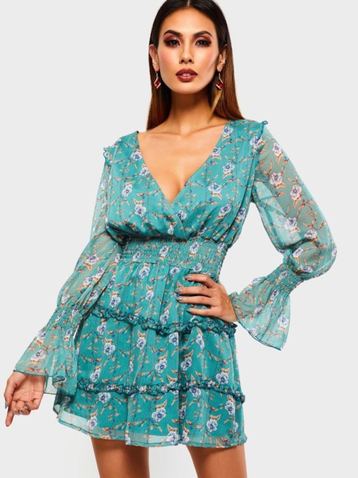 V-Neck Print Falbala Women's Long Sleeve Dress