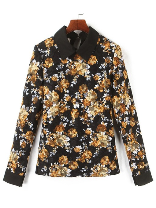 Floral Print Lapel Slim Women's Blouse