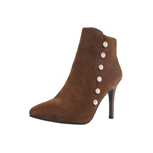 Pointed Toe Stiletto Heel Side Zipper Short Floss Suede Ankle Boots