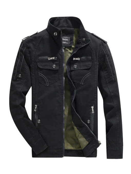 Plain Stand Collar Straight Men's Jacket