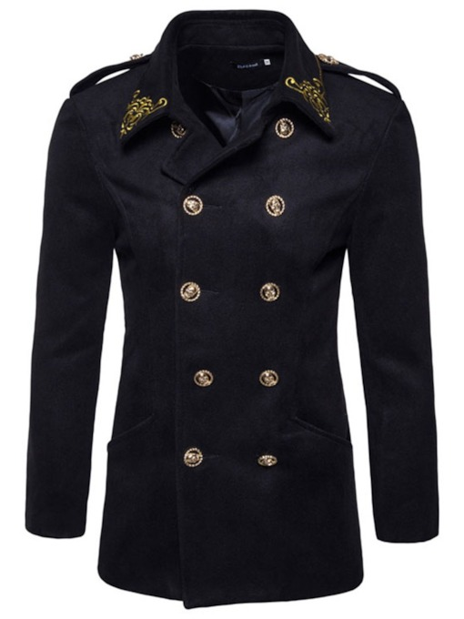 Mid-Length Lapel Slim Men's Wool-Blend Peacoat