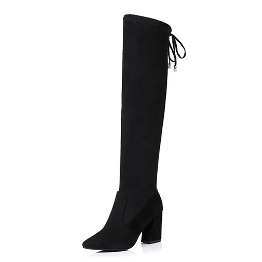 Lace-Up Back Chunky Heel Pointed Toe Short Floss Knee High Boots