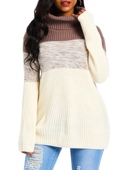 Color Block Turtleneck Mid-Length Women's Sweater